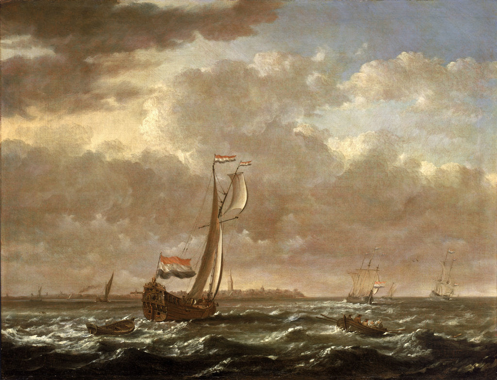 Detail of A Dutch admiralty yacht off Flushing by Cornelis Claesz van Wieringen