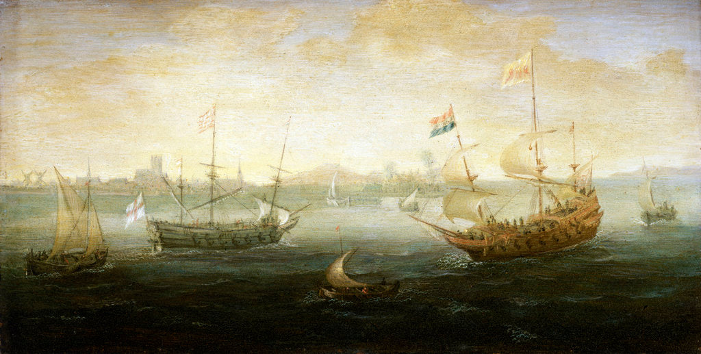 Detail of A Dutch and English ship off a harbour by Abraham de Verwer