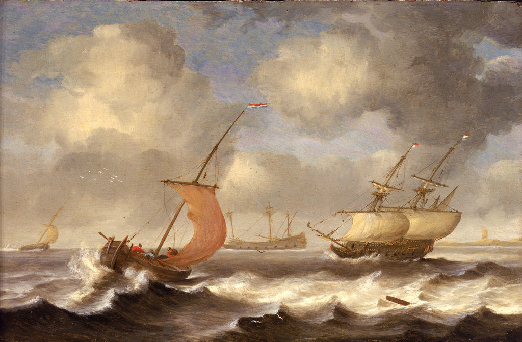 Detail of Dutch ships in a breeze by Monogrammist DW