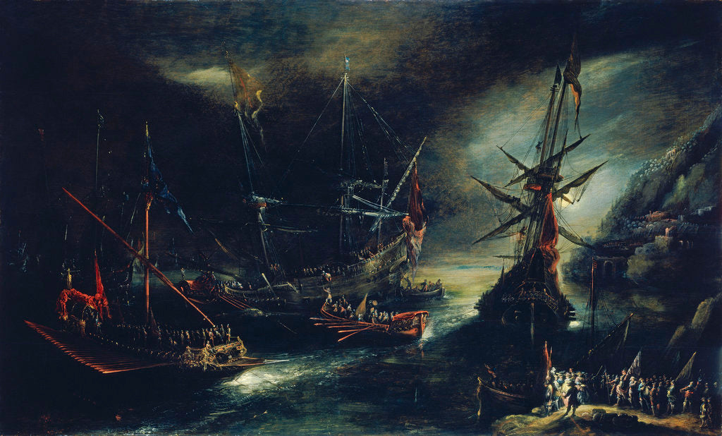 Detail of Embarkation of Spanish troops by Andries van Eertvelt