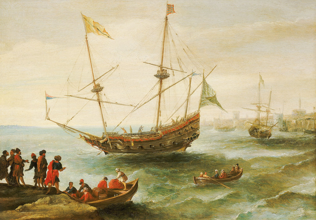 Detail of An Algerine ship off a barbary port by Andries van Eertvelt