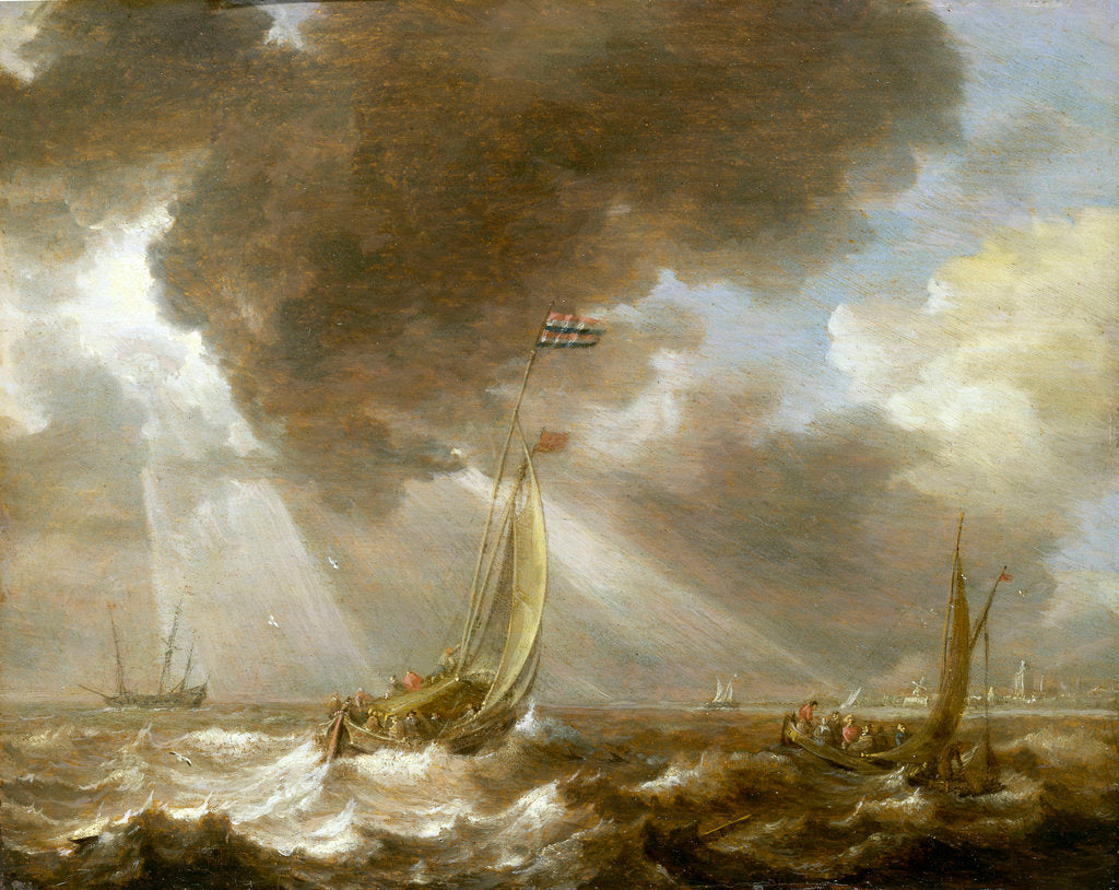 Detail of Dutch fishing boats in a fresh breeze by Bonaventura Peeters the Elder