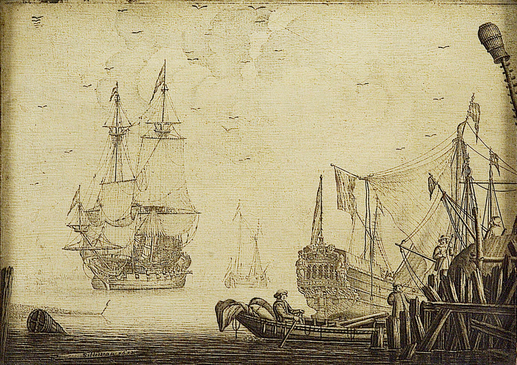 Detail of Shipping off a Dutch pier by Experiens Sillemans