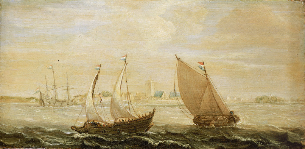 A yacht and a small vessel underway off a Dutch harbour by Cornelisz Verbeecq