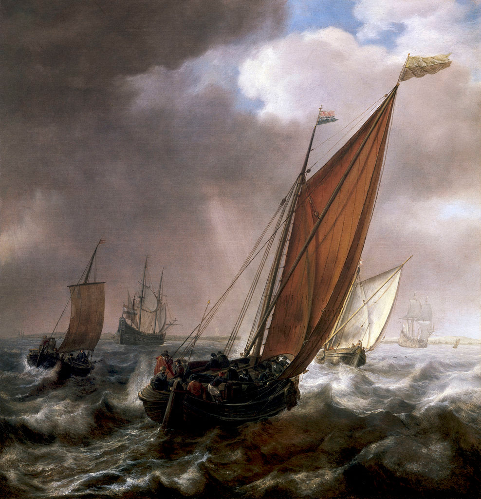 Detail of A Dutch ferry boat before a breeze by Simon de Vlieger