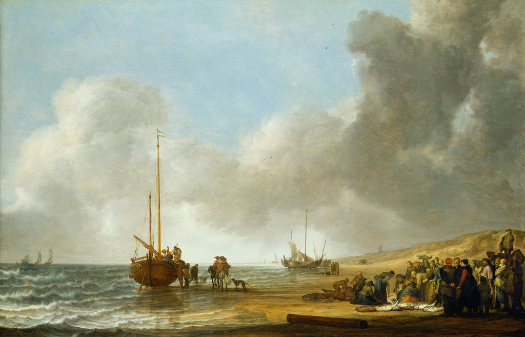The beach at Scheveningen by Simon de Vlieger