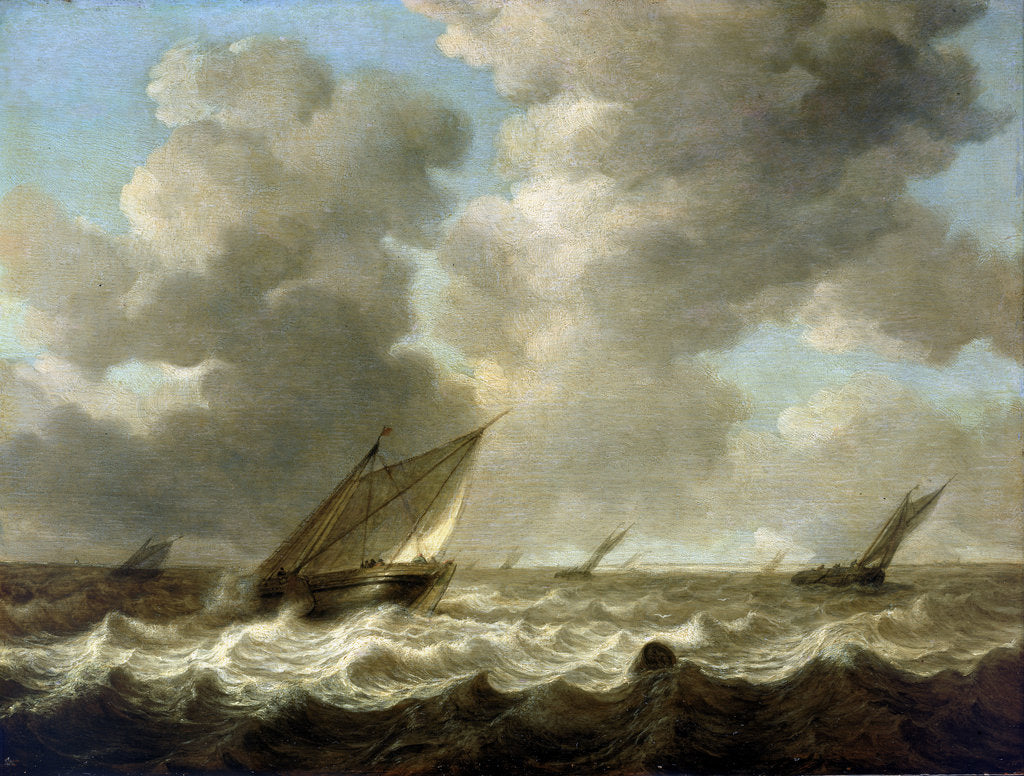 Detail of Fishing boats in a rough sea by Simon de Vlieger