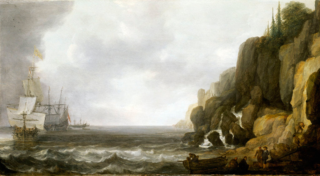Detail of Dutch ships revictualling off a rocky coast by Simon de Vlieger