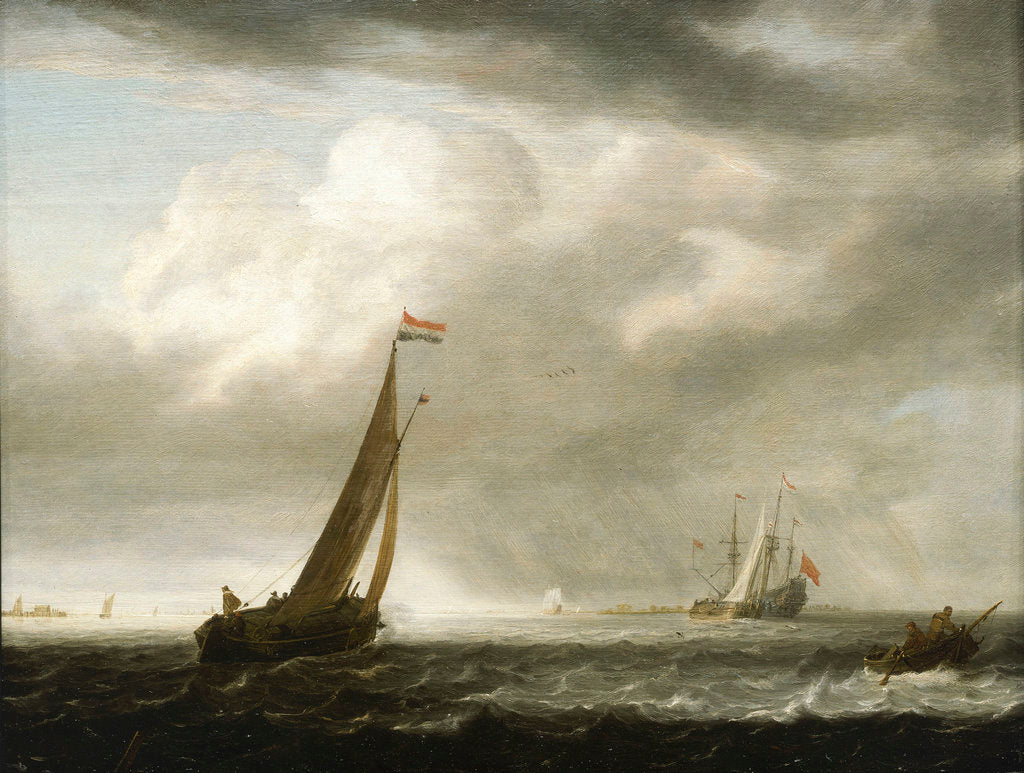 Detail of A squally day in a Dutch estuary by Simon de Vlieger