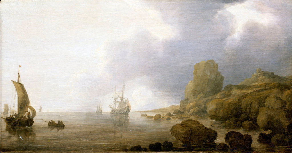 Detail of Ships becalmed on a rocky coast by Simon de Vlieger