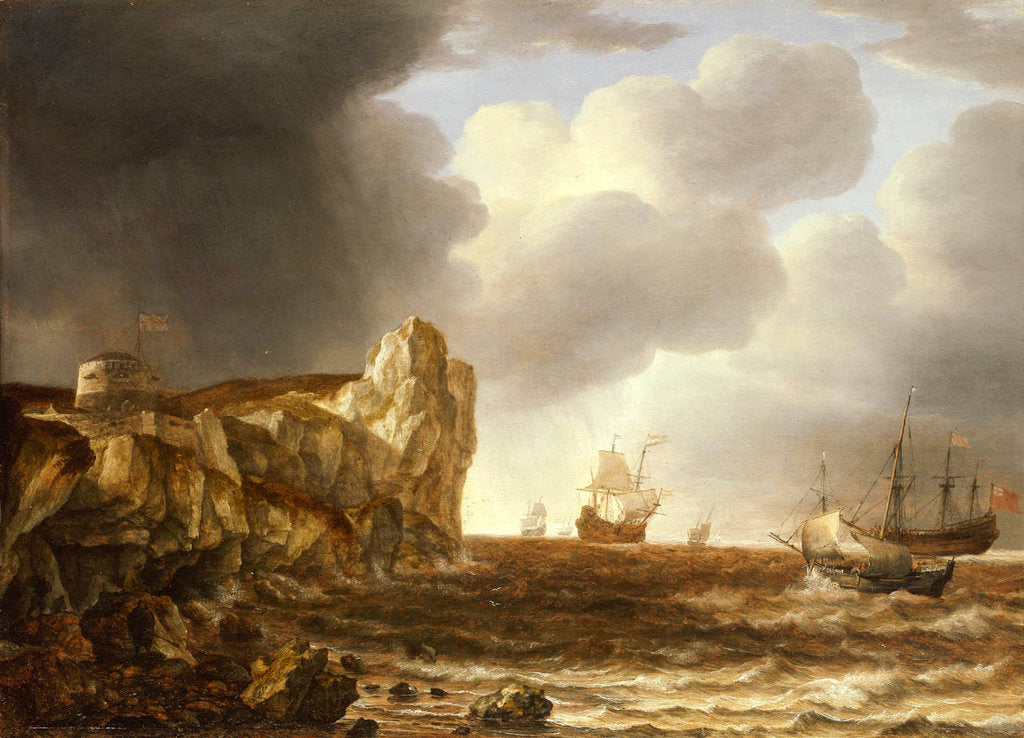 Detail of Shipping off the English coast by Simon de Vlieger