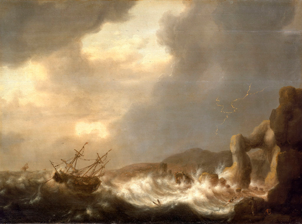 Detail of Ships wrecked on a rocky shore by Hendrick Staets