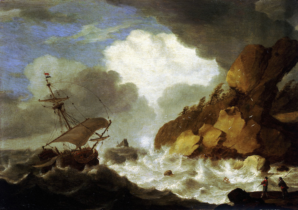Detail of A Dutch ship foundering off a rocky coast by Hendrick Staets