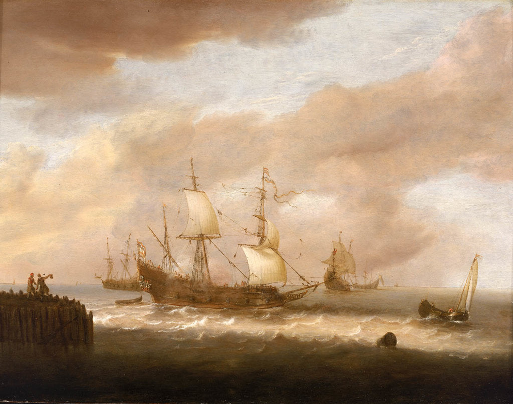 Detail of The departure of an East Indiaman by Hendrick Staets