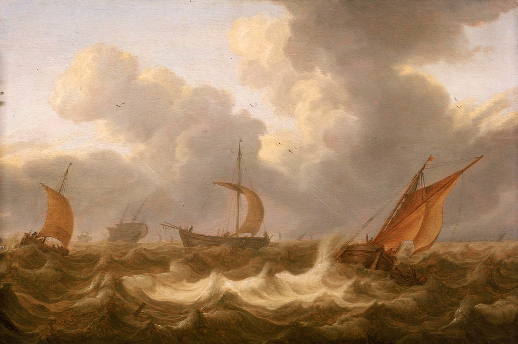 Detail of Fishing boats in a choppy sea by Cornelisz Leonardsz Stooter