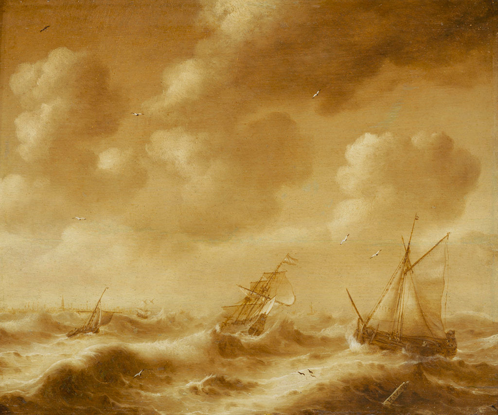 Detail of Shipping in a gale by Hendrick van Anthonissen