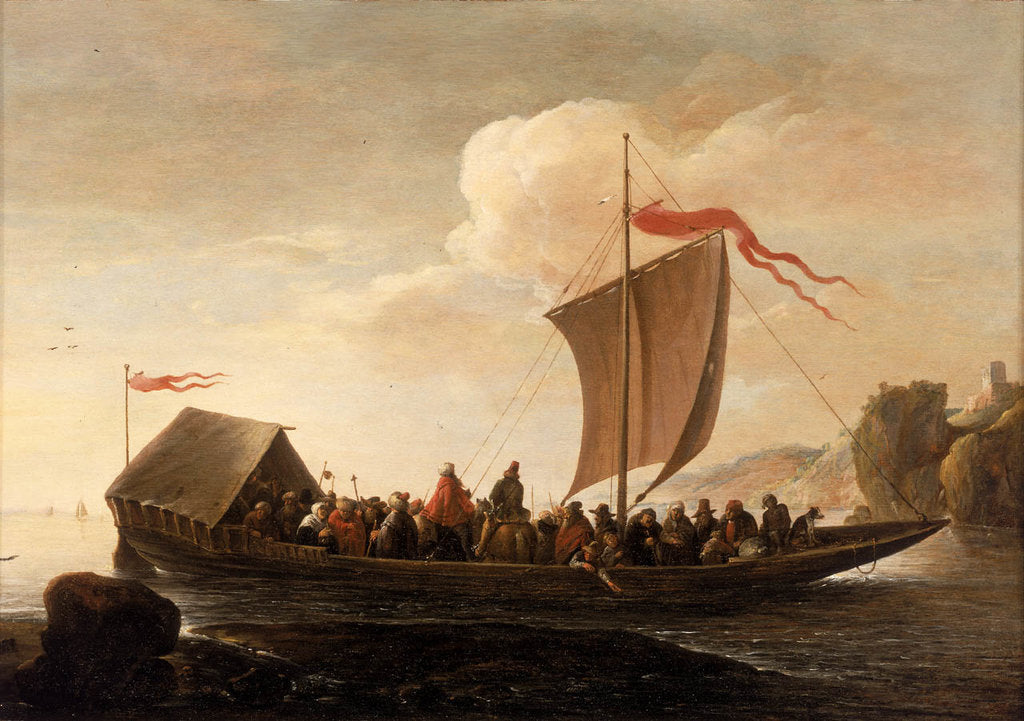 Detail of A ferry boat on a calm sea by Pieter de Bloot