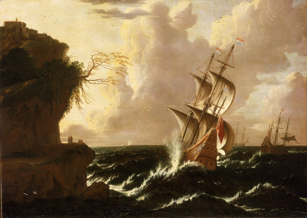 Detail of A Dutch ship in a storm by Matthieu van Plattenberg