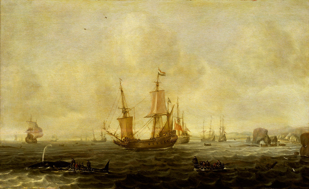 Detail of A Dutch whaling fleet by Jacob Feyt de Vries