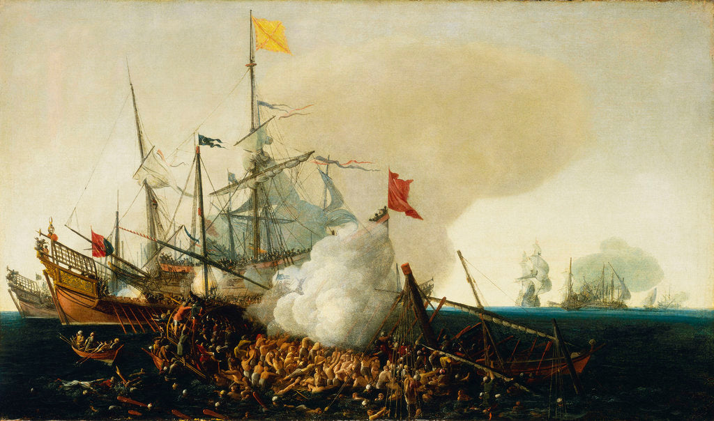 Detail of Spanish Men-of-War engaging barbary corsairs by Cornelis Hendriksz Vroom