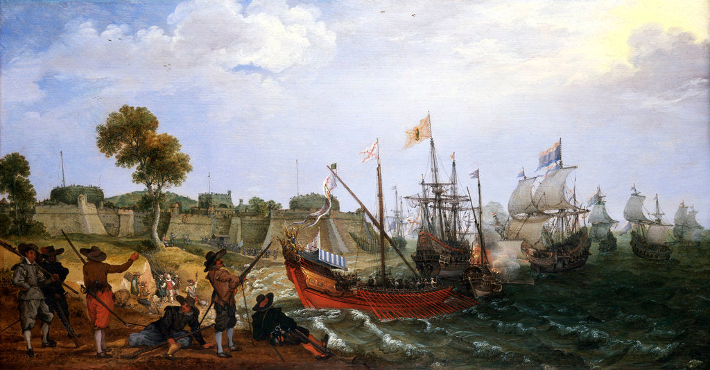 Dutch squadron attacking a Spanish fortress by Adam Willaerts