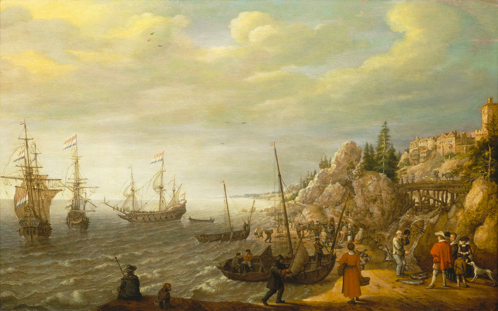 Detail of Dutch ships at anchor off a fortified Scandinavian town by Adam Willaerts