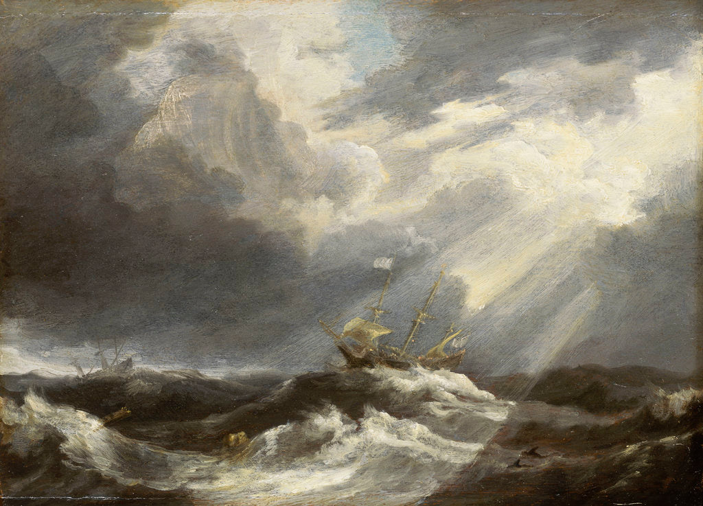 Detail of Sunlight on a stormy sea by Bonaventura Peeters the Elder