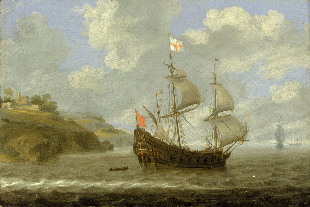Detail of An English ship leaving the coast by Tobias Flessiers