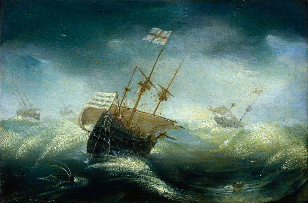 Detail of English ships in a rough sea by Claes Wou