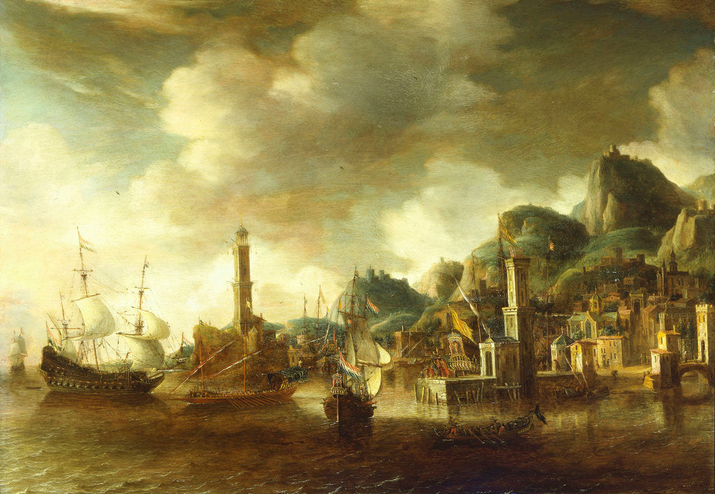 Detail of A Dutch flagship and a Fluyt running into a Mediterranean harbour by Johannes Beerstraaten