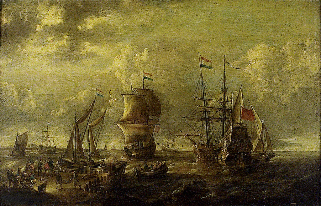 Dutch men-of-war and fishing boats in harbour by C.W. Monogrammist