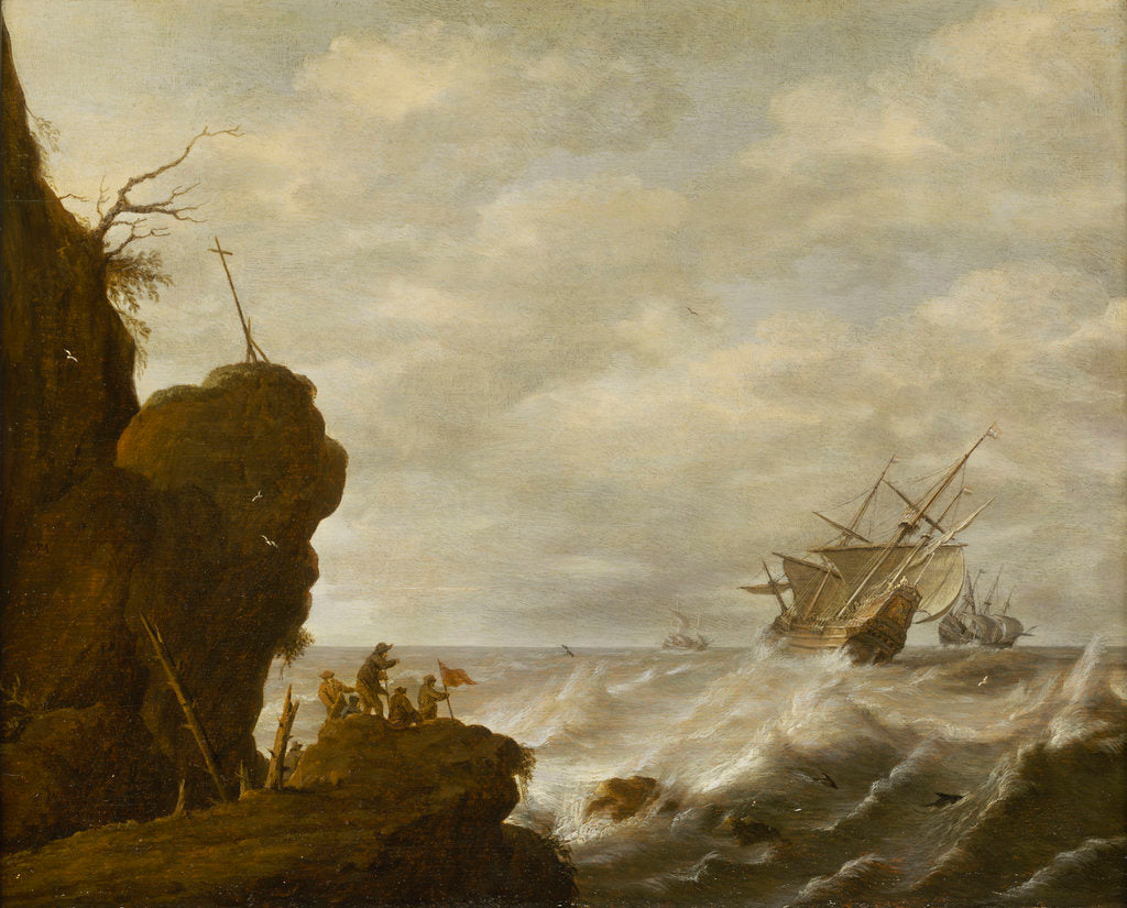 Detail of A Dutch ship in a breeze off a rocky coast by Pieter Mulier