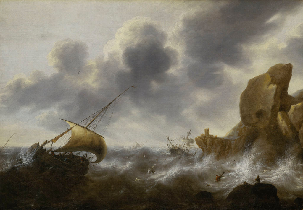 Detail of A fishing boat off a rocky coast in a storm with a wreck by Jacob Adriaensz Bellevois