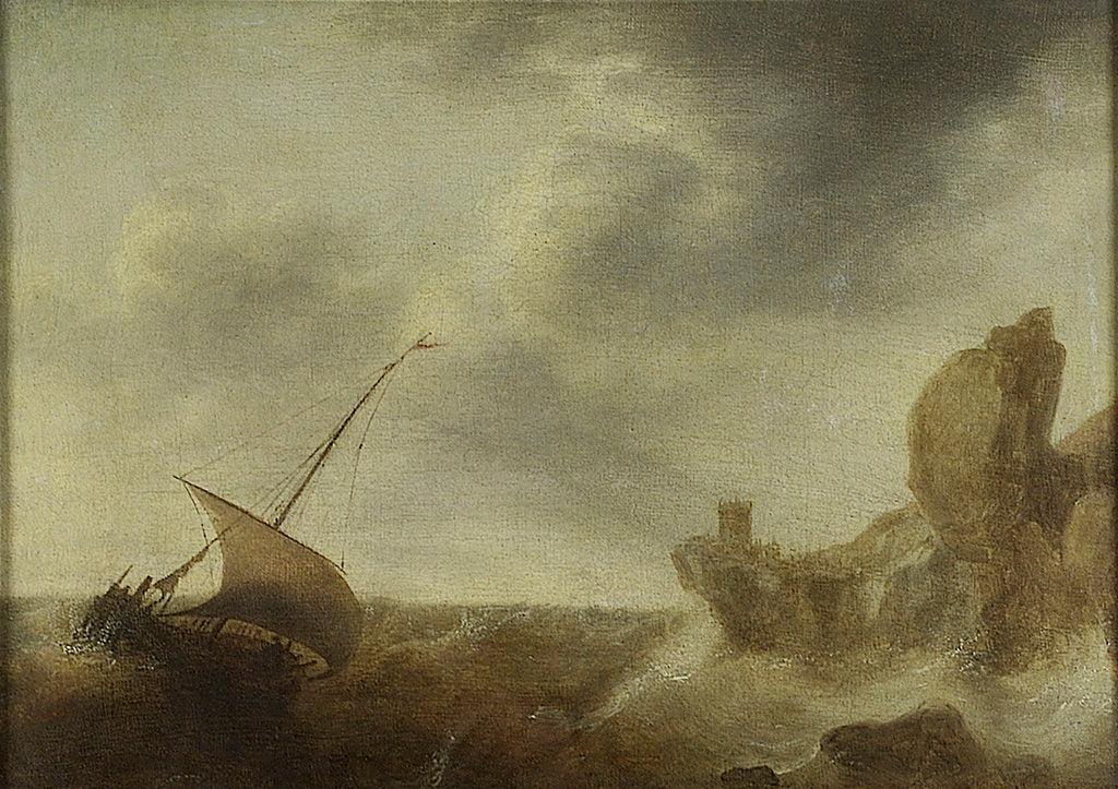 Detail of A small vessel beating off a rocky coast by Jacob Adriaensz Bellevois