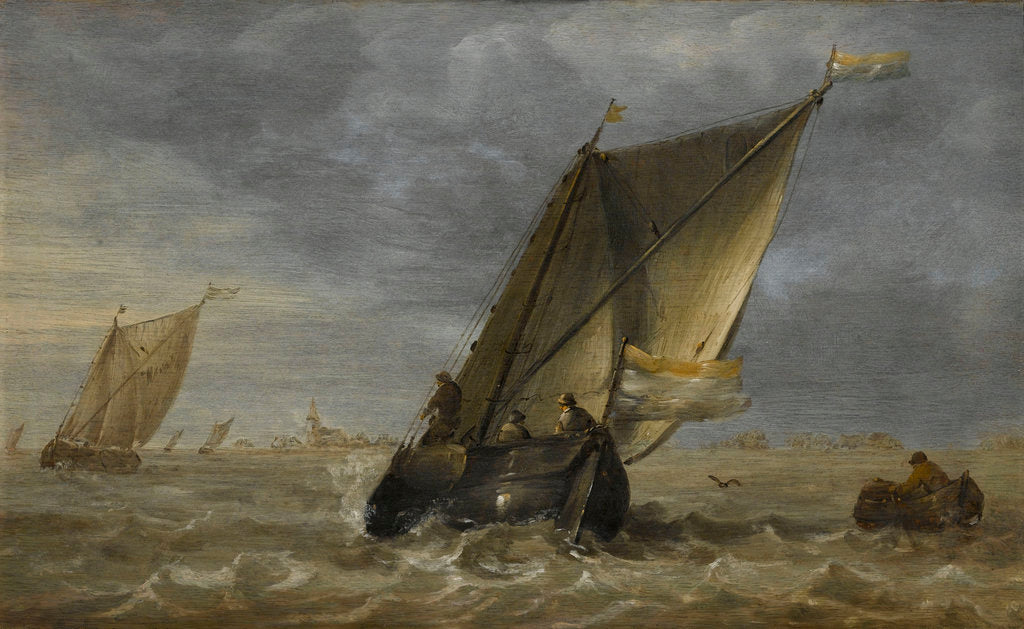 Detail of Fishing boats in a fresh breeze by Abraham Hendricksz van Beyeren
