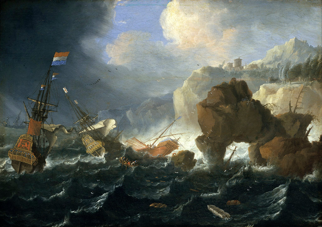 Detail of Ships and a galley wrecked on a rocky coast by Jan Peeters