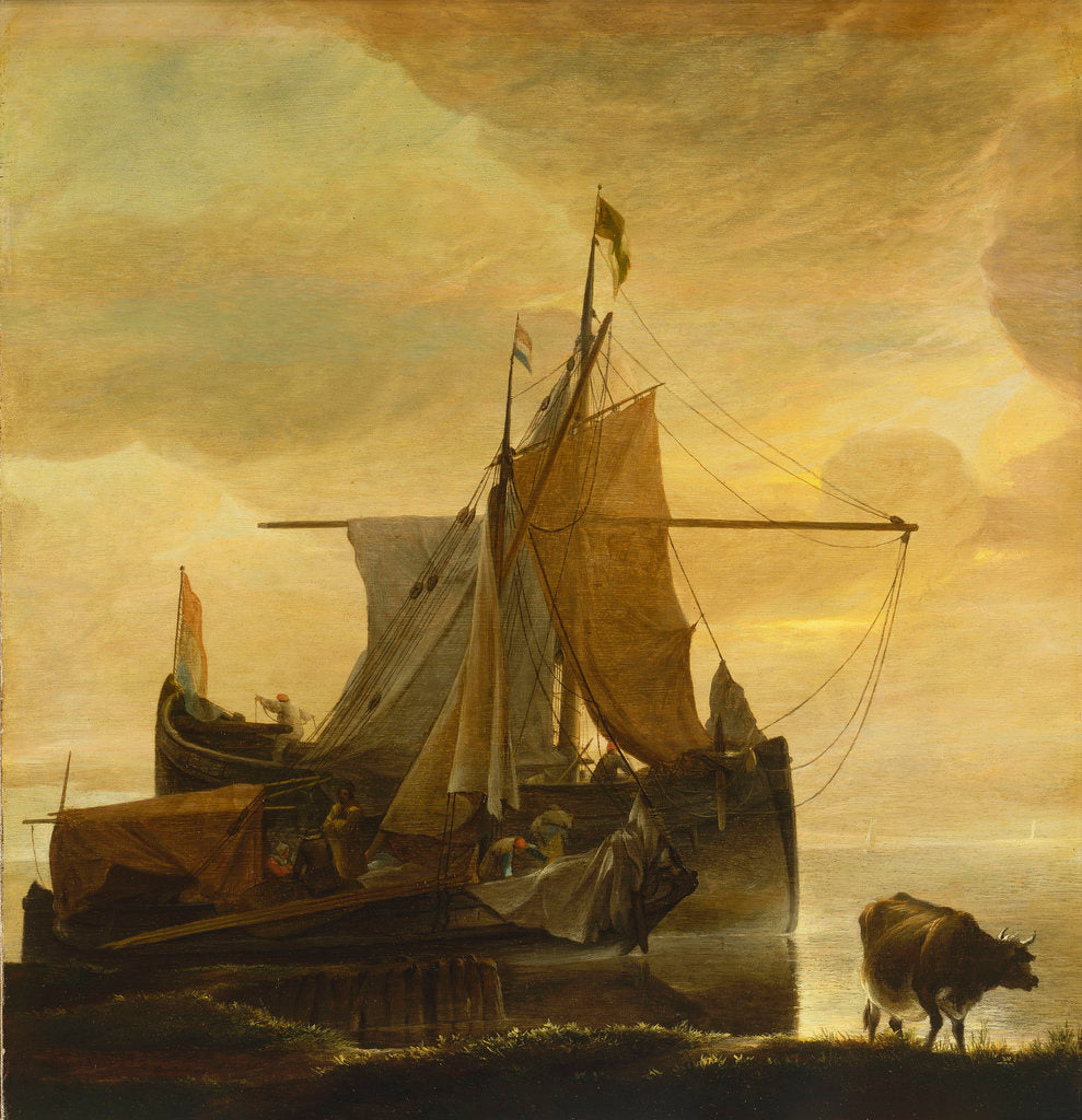 Detail of The rising tide at dawn by Jan van de Cappelle