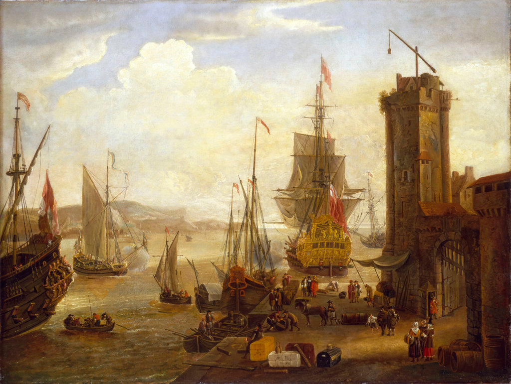 Detail of Dock scene at a British port by Jacob Knyff