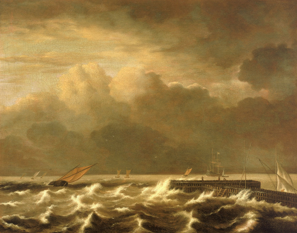 Detail of Rough seas breaking over a jetty by Jacob van Ruisdael