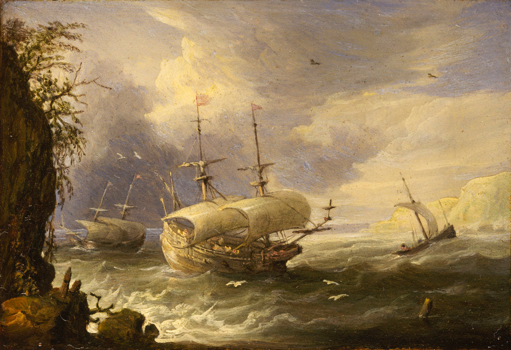 Detail of Shipping off a rocky coast by Pieter van den Velde