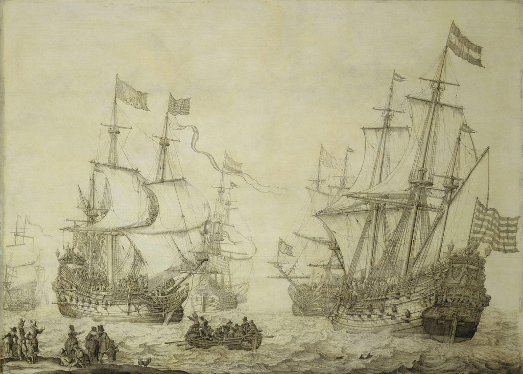 Two Dutch merchant ships under sail near the shore in a moderate breeze by Willem van de Velde the Elder