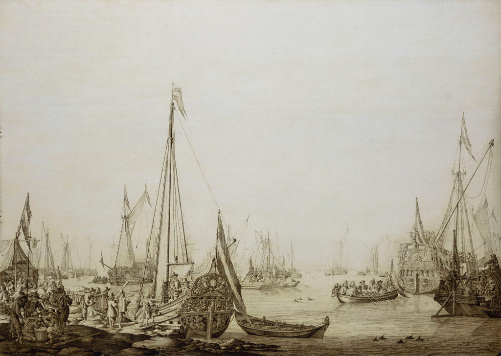 Detail of Calm: a Dutch bezan yacht and other vessels in a crowded harbour by Willem van de Velde the Elder