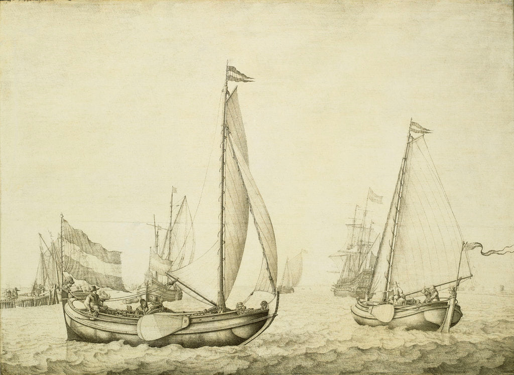 Detail of Two Dutch boeier yachts under sail by Willem van de Velde the Elder
