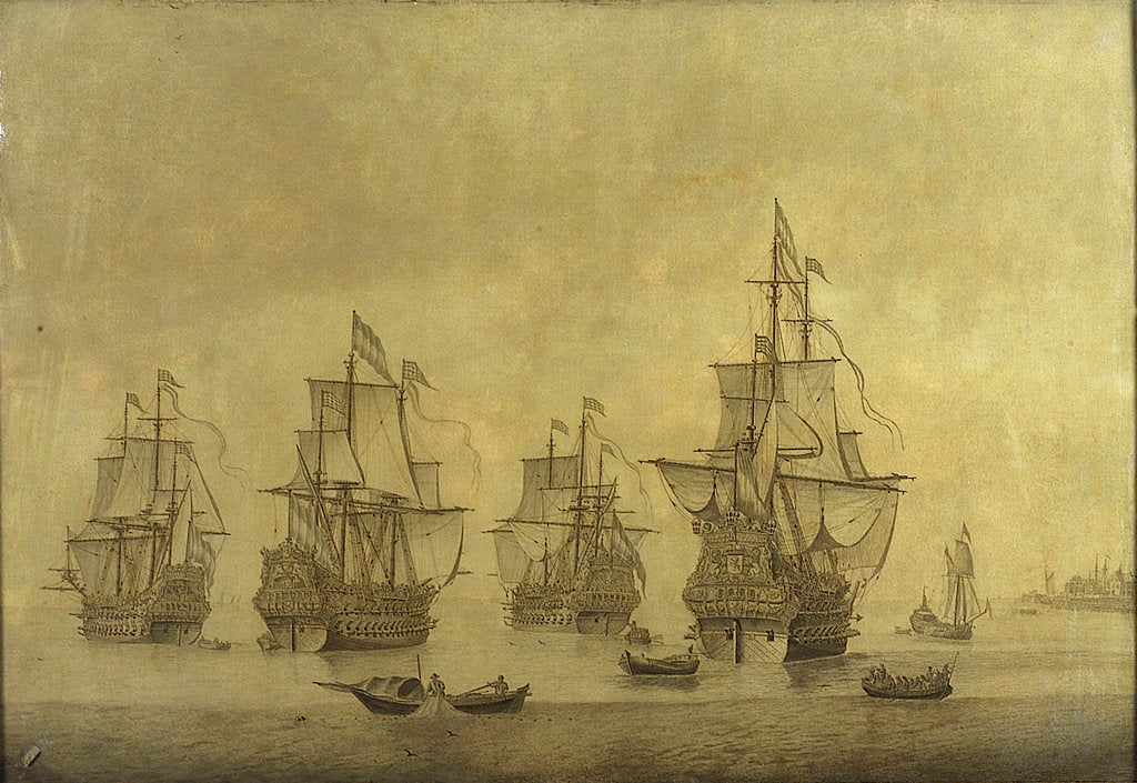 Detail of The 'Eendracht' with the 'Zeven Provincien' and other Dutch men-of-war by Cornelis Pietersz Mooy