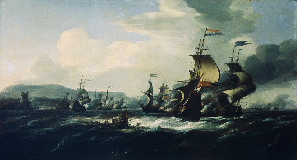 Detail of A battle between the Dutch and Barbary pirates near the coast by Hendrik van Minderhout