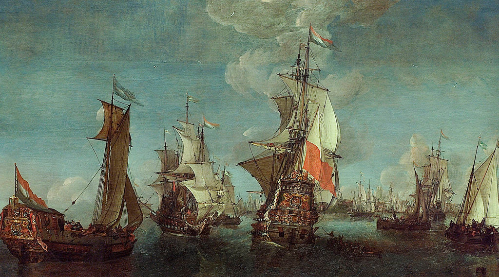 Detail of Shipping off Rotterdam by unknown
