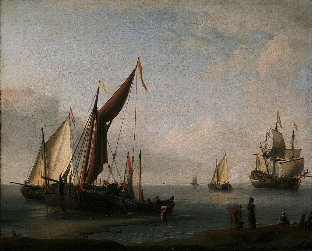 Dutch craft ashore by Willem Van de Velde the Younger