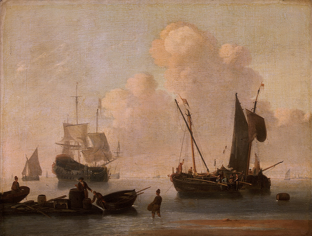Detail of Dutch shipping with a raft near the shore by Willem Van de Velde the Younger