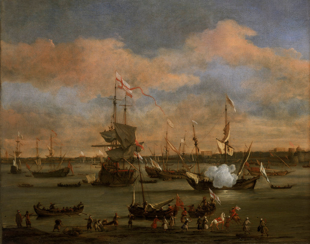 Detail of An English Merchant ship in a mediterranean harbour by Willem Van de Velde the Younger