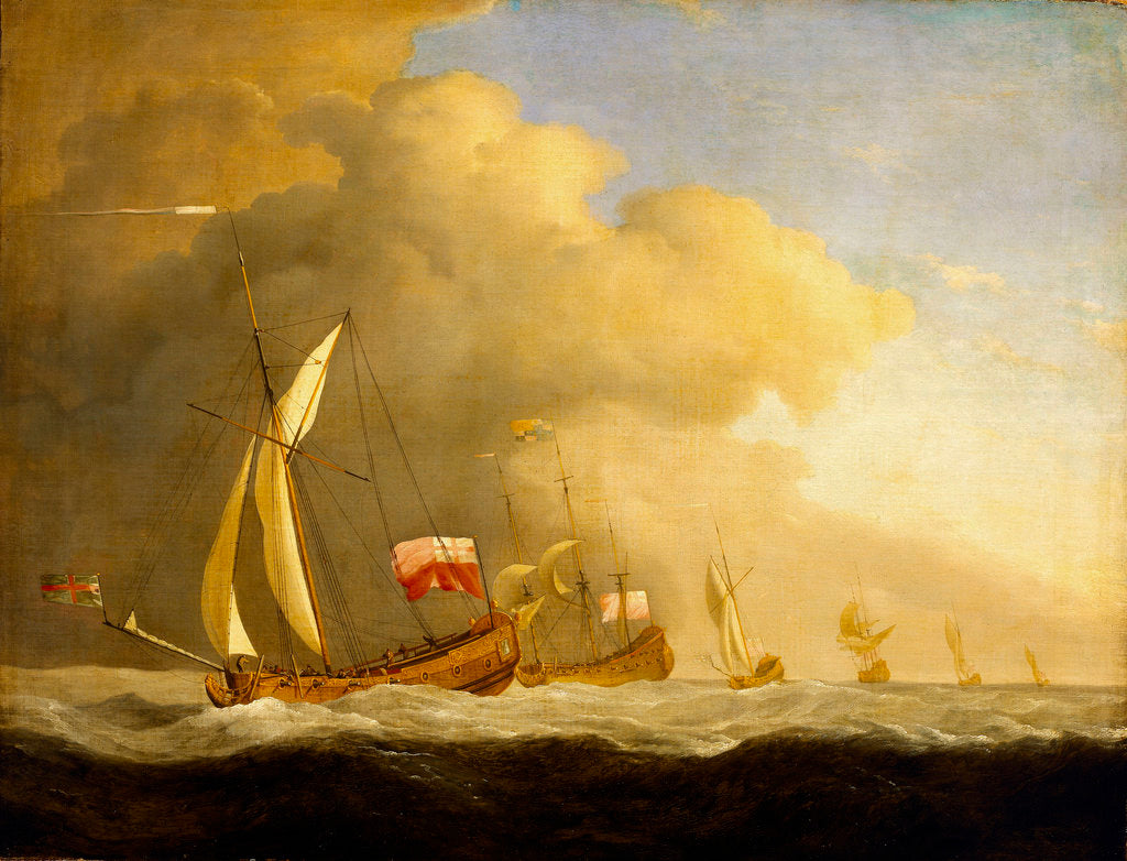 Detail of English Royal yachts at sea by Willem Van de Velde the Younger
